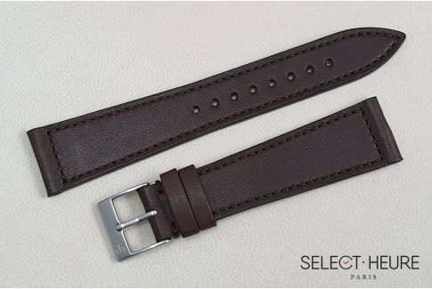 Brown French Baranil Calfskin SELECT-HEURE leather watch strap, hand-made in France