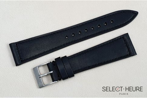 Mat Black French Baranil Calfskin SELECT-HEURE leather watch strap, hand-made in France