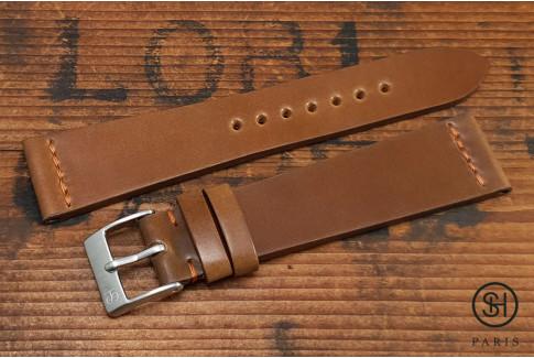 Bracelet montre cuir Horween Shell Cordovan SH Cognac (fait main)