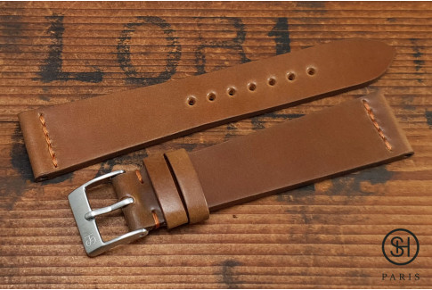 Cognac SH Horween Shell Cordovan leather watch strap (handmade)