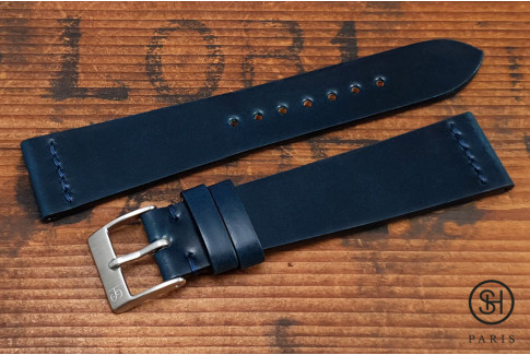 Blue SH Horween Shell Cordovan leather watch strap (handmade)