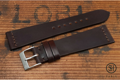 Brown SH Horween Shell Cordovan leather watch strap (handmade)