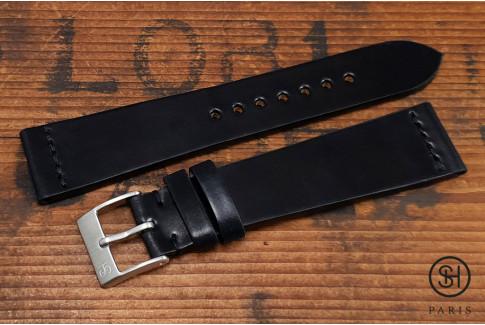 Bracelet montre cuir Horween Shell Cordovan SH Noir (fait main)