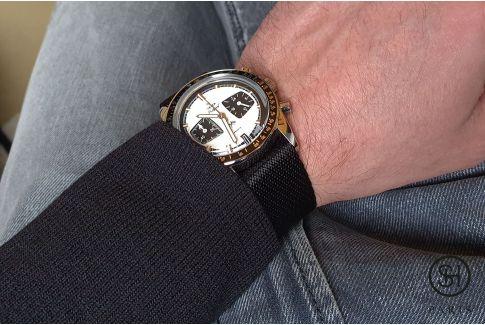 Black adjustable Serge SELECT-HEURE nylon watch strap
