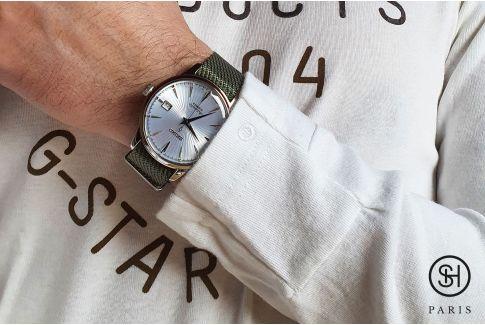 Bracelet montre Nylon Sergé SELECT-HEURE ajustable Vert Amande