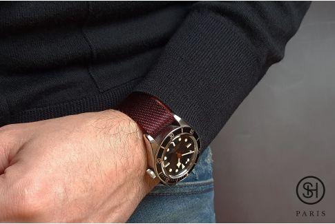 Bracelet montre Nylon Sergé SELECT-HEURE ajustable Bordeaux Noir