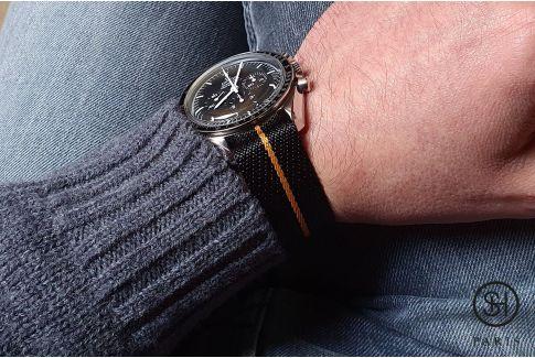 Bracelet montre Nylon Sergé SELECT-HEURE ajustable Noir Ocre
