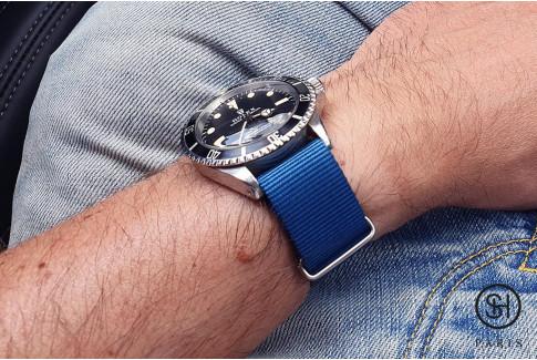 Bracelet nylon NATO Bleu, boucle polie