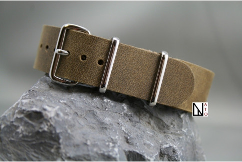 Vintage Raw leather G10 NATO strap