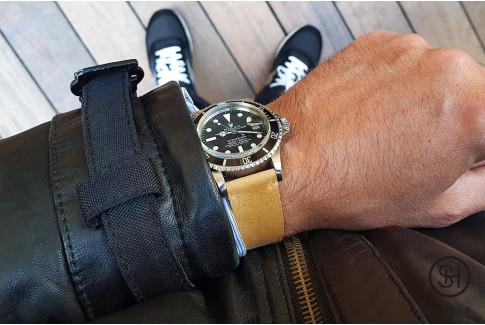 Bracelet montre cuir Vintage SH Miel avec pompes rapides (interchangeable)