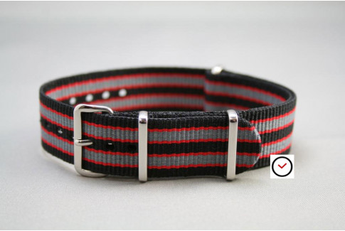 Black Grey Red James Bond G10 NATO strap (nylon)