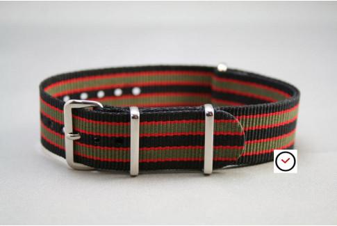 Bracelet nylon NATO Bond Noir Kaki Rouge