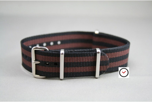 Bracelet nylon NATO Bond Noir Marron Chocolat