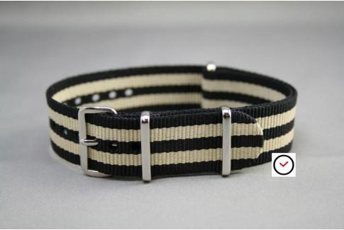 Bracelet nylon NATO Bond Noir Beige Sable