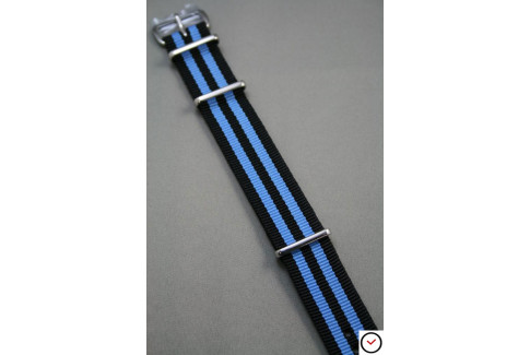 Bracelet nylon NATO Bond Noir Bleu
