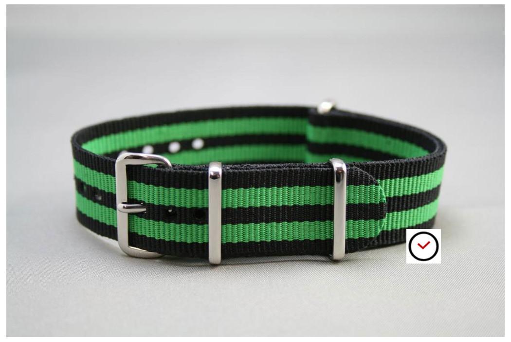 Bracelet nylon NATO Bond Noir Vert