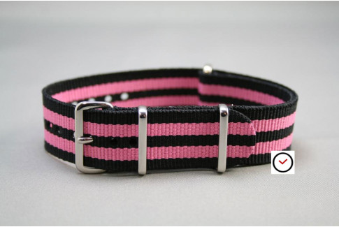 Bracelet nylon NATO Bond Noir Rose