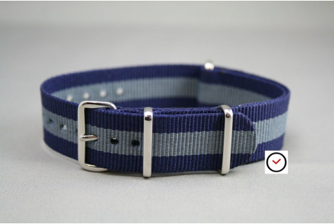 Navy Blue Grey G10 NATO strap (nylon)