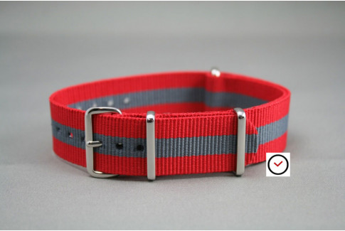 Bracelet nylon NATO Rouge Gris