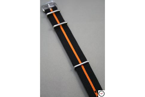 Bracelet nylon NATO Noir liseré Orange