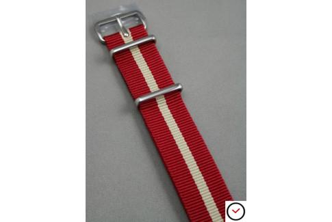 Bracelet nylon NATO Rouge liseré Sable