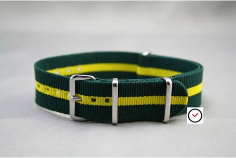 """Bracelet nylon NATO Vert liseré Jaune """"Lotus"""""""