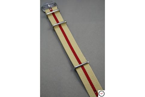 Bracelet nylon NATO Sable liseré Rouge