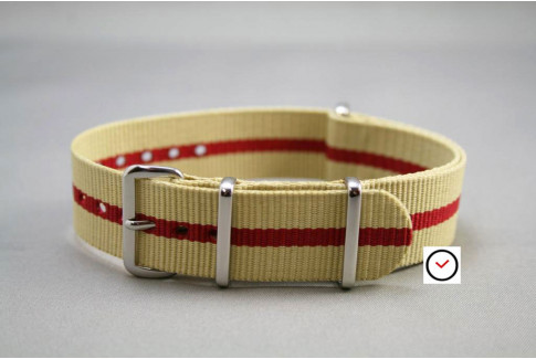 Sandy Beige Red G10 NATO strap (nylon)
