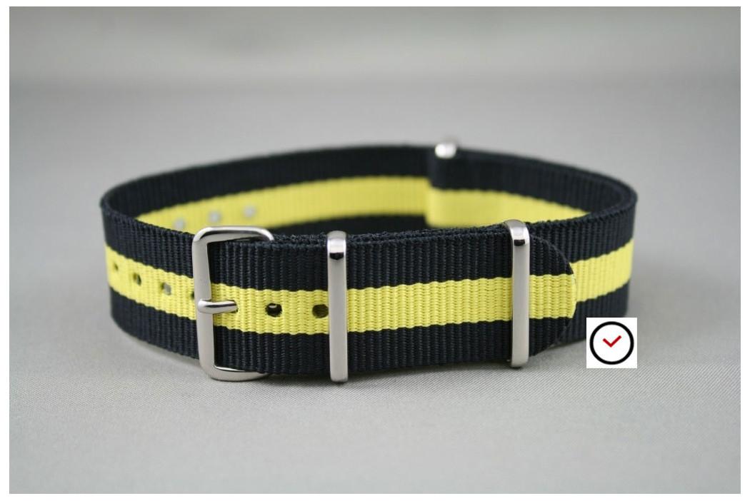 Bracelet nylon NATO Noir Jaune