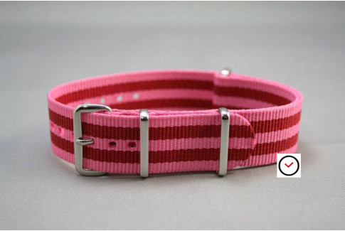 Pink Red James Bond G10 NATO strap (nylon)