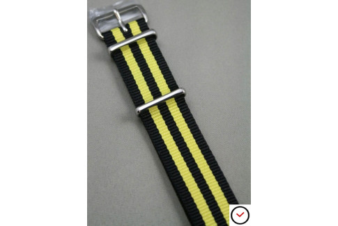 Black Yellow James Bond NATO watch strap (nylon)