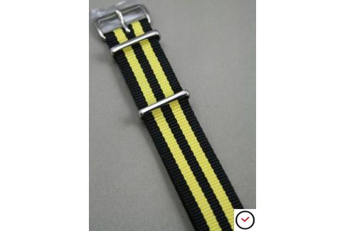 Bracelet nylon NATO Bond Noir Jaune