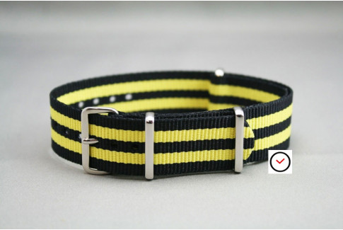 Black Yellow James Bond NATO watch strap (nylon)
