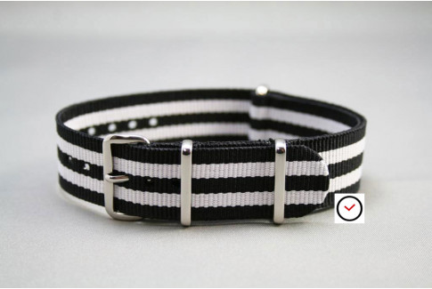 Black White James Bond G10 NATO strap (nylon)