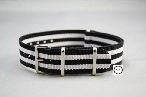 Bracelet nylon NATO Bond Noir Blanc