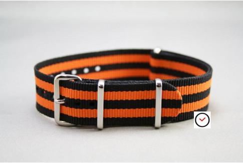 Black Orange James Bond G10 NATO strap (nylon)