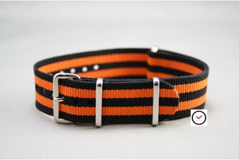 Bracelet nylon NATO Bond Noir Orange