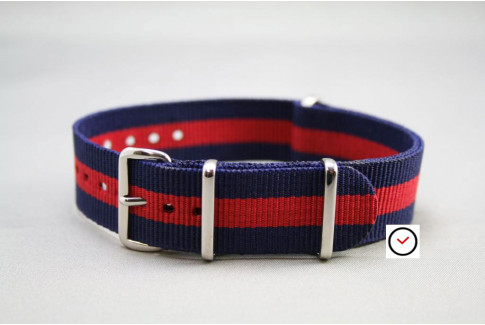 Navy Blue Red G10 NATO strap (nylon)