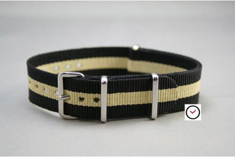 Black Sandy Beige G10 NATO strap (nylon)