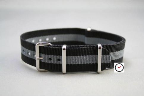 Bracelet nylon NATO Noir Gris