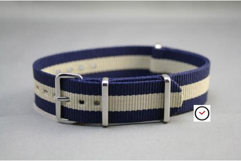 Navy Blue Sandy Beige G10 NATO strap (nylon)