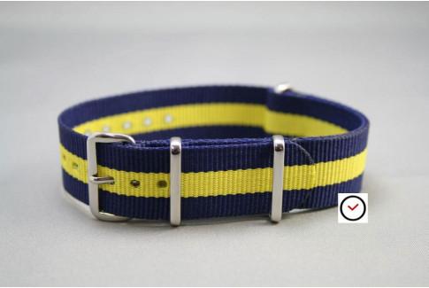 Bracelet nylon NATO Bleu Navy Jaune