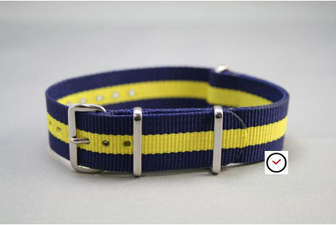 Navy Blue Yellow G10 NATO strap (nylon)
