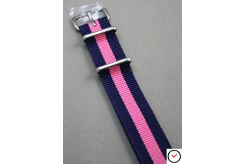 Bracelet nylon NATO Bleu Navy Rose