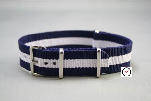 Bracelet nylon NATO Bleu Navy Blanc
