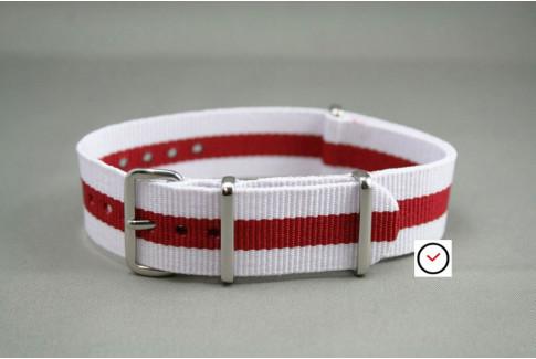 Bracelet nylon NATO Blanc Rouge