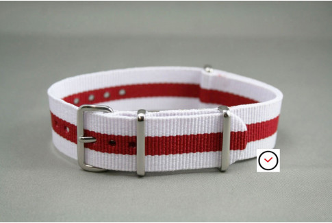 White Red G10 NATO strap (nylon)