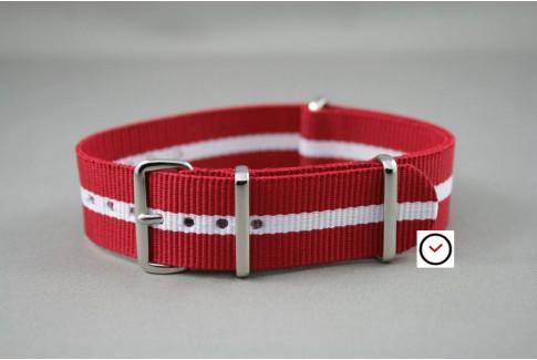 Bracelet nylon NATO Rouge liseré Blanc