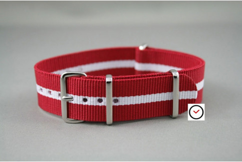 Red White border G10 NATO strap (nylon)