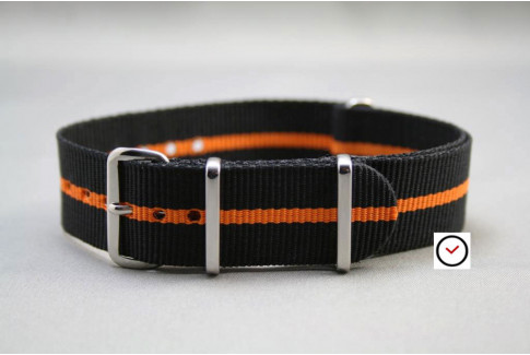 Black Orange G10 NATO strap (nylon)